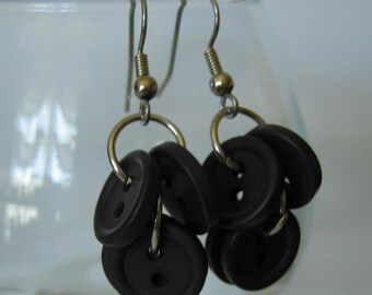 Navy Nearly Black Buttoned Dangle Earrings