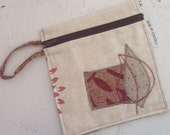 OOAK Medium Purse or Cosmetic case in recycled fabrics. Leaves Design for 2012