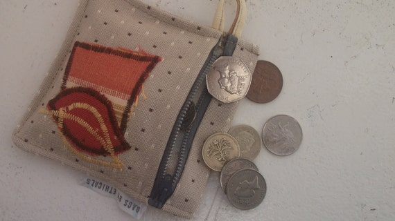 OOAK Small Coin Purse in recycled fabrics. Leaves Design Ready to Ship