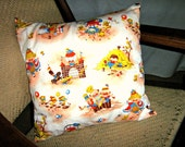 Vintage Nursery Rhymes Throw Pillow Cover for 16 x 16 Pillow