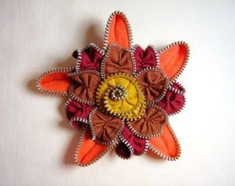 Zipper Flower Brooch Autumn Colors Vintage Zippers
