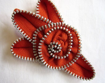 Zipper Flower Brooch Pumpkin Orange