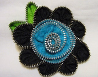 Repurposed Zipper Flower Brooch Turquoise and Black Vintage Zippers