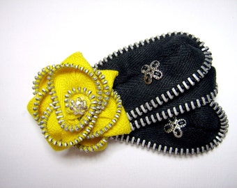 Brooch Repurposed Vintage Zippers Yellow and Black