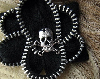 SALE Hair Clip Zipper Flower Black with Silver Plated Skull & Crossbones