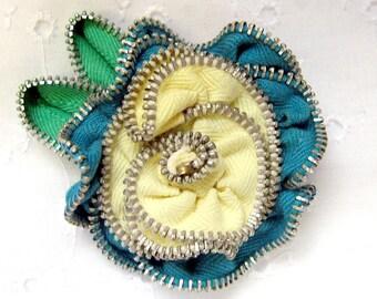 Repurposed Zipper Flower Brooch Teal & Butter Yellow Hand-sewn