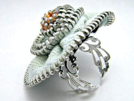 Zipper Ring Mint Green Adjustable Silver Filigree