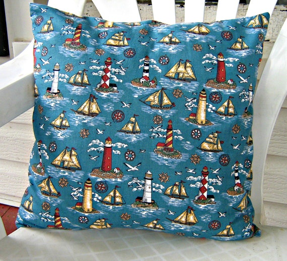 nautical theme throw pillow cover for 16 x 16 pillow. Black Bedroom Furniture Sets. Home Design Ideas