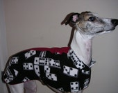 Domino dog jacket with a stripe of red  whippet jacket