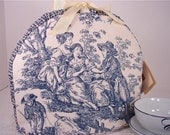 French Country Rustic Toile  Insulated Tea Cozy in Blue and Cream