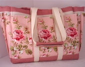 Pink Cabbage Rose Cottage Travel Tote Bag with Mulit Pockets for your Knitting, Gardening, Travel or Baby Diaper Bag
