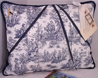 Toile Reading Pillow in Country Blue and White Waverly Fabric