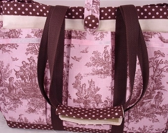 Pink and Brown Rustic Country Toile Travel, Garden, Craft, Diaper, Knitting Tote Bag