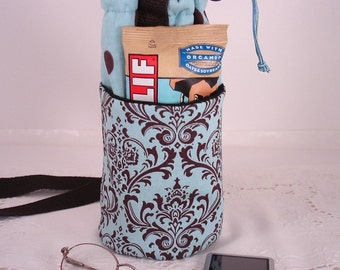 Water Bottle Carrier Insulated with pockets in Tuquoise and Chocolate Damask and Dots