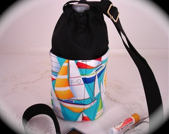 Insulated Water Bottle Carrier with pockets Sail Boats
