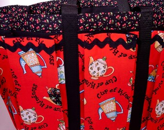 Tea is a Cup of Happiness Mary Englebert Travel, Garden, Craft, Knitting Tote Bag, Also Great Diaper Bag in Red