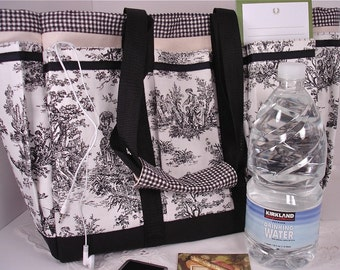 Black and White Rustic Country Toile Travel, Garden, Craft, Diaper, Knitting Tote Bag