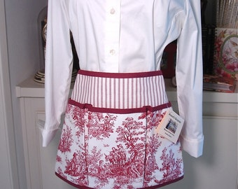 Red and White Country Rustic Toile Craft Apron for all your Fun Garden, Crafting, Vendor or Cooking Adventures