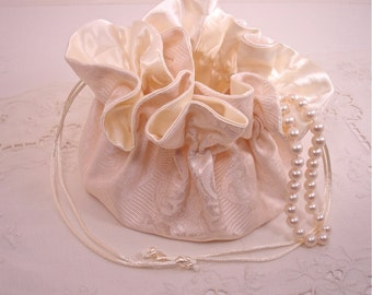 Damask Creamy White Jewelry Pouch for Travel, Home Use or Bride to Be