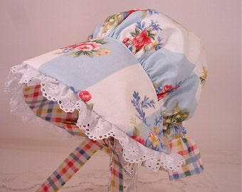 Child's Shabby Chic Rose Nosegay Bouquet Sun Bonnet with back neck protective flap - Medium