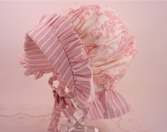 Child's Sun Bonnet in Pink and Cream Central Park Toile, Made to Order