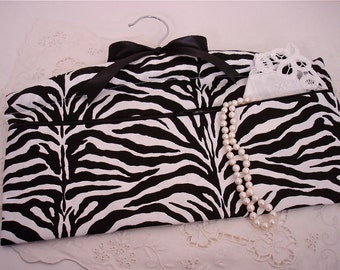 Black and White Zebra Travel Hanger Closet Safe for Travel or Home