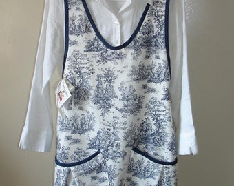 Blue and White Country Toile Womens Pinafore Apron