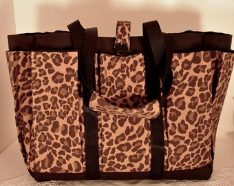 Leopard Travel Tote Bag with Mulit Pockets for your Knitting, Gardening, Travel or Baby Diaper Bag