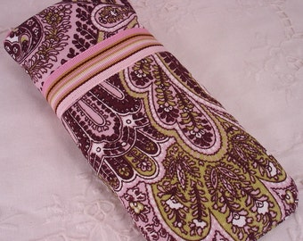 iPod, Cell Phone, Eye Glass Carrier in Paisley Brown and Pinks