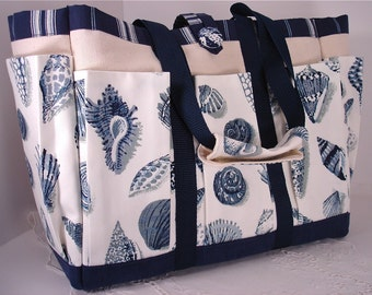 Sue Sells Sea Shells Travel, Garden, Craft, Diaper Or knitting Canvas Tote Bag