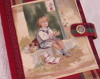 Antique Victorian Studious Boy Sitting on a Door Stoop Appliqued Bible or Hardbound Book Cover