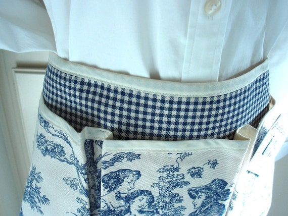 Blue and Cream Country Rustic Toile Craft Apron for all your Fun Garden, Crafting, Vendor or Cooking Adventures