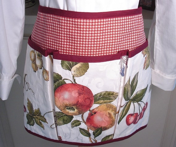 Grapes, Apples and Cherries with Butterflies and Dragonflies Half Apron for Garden, Crafting, Vendor or Cooking Adventures