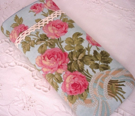 Shabby Chic Rose in Turquiose Eyeglass , Sunglass, or Gadget Holder Carrier