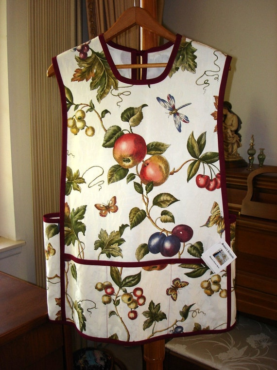 Apples, Plums and Cherries with Butterflies and Dragonflies Womens Cobbler Apron  for Your Entertainment, Cooking and Craft Adventours