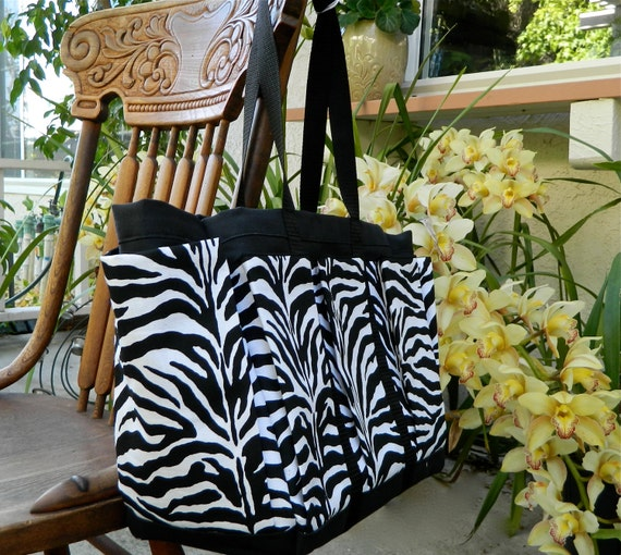 Zebra Travel Tote Bag with Mulit Pockets for your Knitting, Gardening, Travel or Baby Diaper Bag