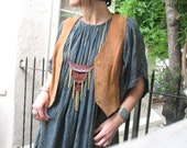 We Are Stardust Tooled Leather Tiered Necklace with Chain Fringe by flaming hag folkwear