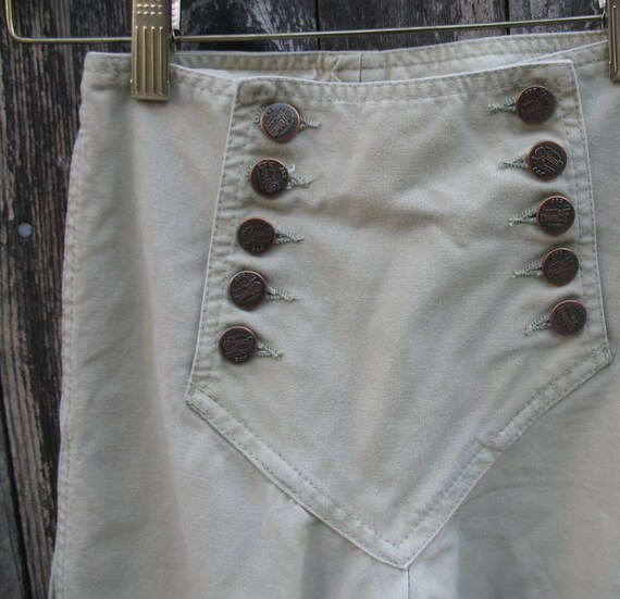 Vtg  Pint Sized  70s Khaki Chemin De Fer Bell Bottom Sailor Jeans Girls sz 10  /  Papa was a Rollin' Stone
