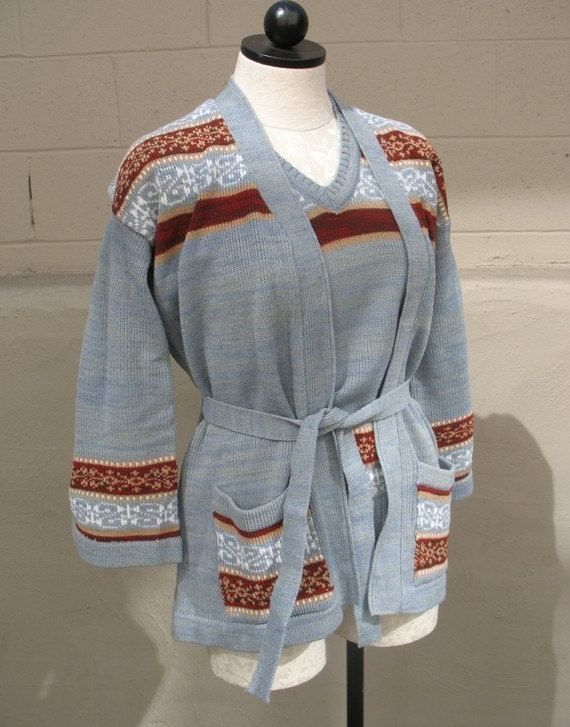 SALE  Vtg 70s Space Dye Belted Cardigan and Vest Set sz s/m / You Could be my Silver Spring