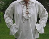 Custom Made Renaissance medieval tudor pirate lace up ruffled shirt chemise blouse
