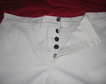Custom Made 1812 Colonial Civil War Era Knee length Breeches Pants with Drawstring and adjustable back buckle gusset and full cut seat