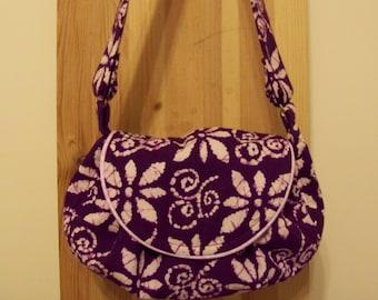 purple batik shoulder  handbag