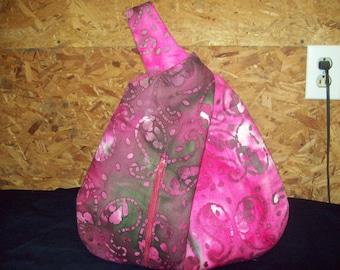 Pink and Green cotton  batik 3pc  wristlet set