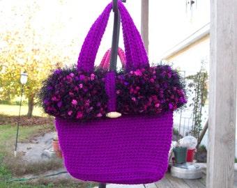 funky crochet  handbag tote green