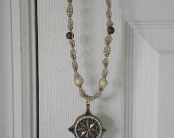 Hemp Beaded Necklace with Pendant