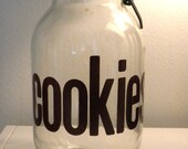 Vintage 70's Glass Cookie Canister Jar with Awesome Font