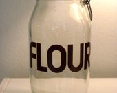 Vintage 70's Glass Flour Canister Jar with Awesome Font