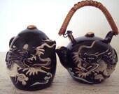 Japan  PCDG Black Raised Dragon Salt and Pepper Shakers