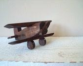 RESERVED FOR JESSICA....Vintage Handmade Wooden Bi Plane