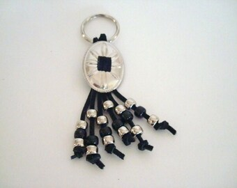 Handcrafted Western Key Chain Black and Silver